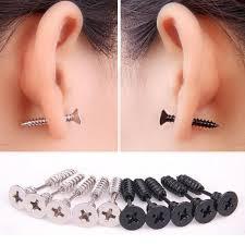 black stud earrings mens best stainless steel jewelry stud earrings fashion