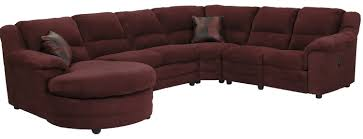 oversized sectional couch in maroon color with circular chaise
