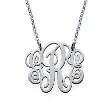script monogram necklace sterling silver fancy script monogram necklace initial obsession