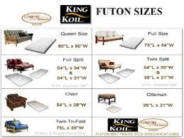 size futon size futon mattress dimensions