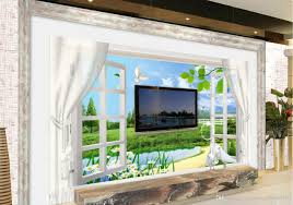 fashion 3d home decor beautiful town spring 3d window curtain