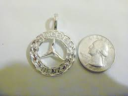 mercedes jewelry bling silver plated mercedes pendant 24 chain necklace