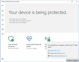 Desk Defender Customize Windows Defender Security Center Contact Information
