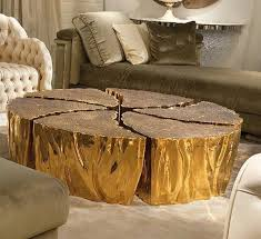 furnitures unique golden reclaimed tree trunk coffee table near