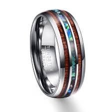 buy titanium rings images Hawaiian koa wood and abalone shell tungsten carbide custom made jpg