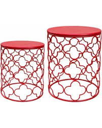 Red Patio Set by Get The Deal Jeco Round Metal Side Table Set Of 2 Red Patio