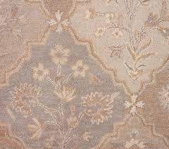 beautiful traditional floral hand tufted wool rug 5x8 beige ivory