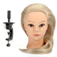 18 inch blonde fiber hair hairdressing training head model with