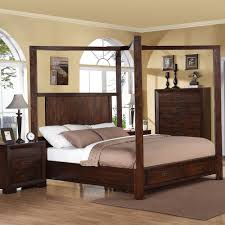 riata wood canopy storage bed in warm walnut humble abode