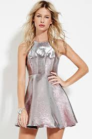fit and flare dress forever 21 forever 21 metallic fit flare dress in pink lyst