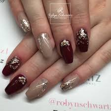 love this combo of dark red and gel nails coffinnails