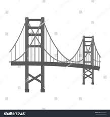 golden gate bridge icon monochrome style stock illustration