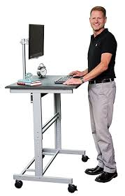 standing computer desk amazon amazon com 40 mobile adjustable height stand up desk with monitor