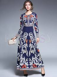 court print rivet high waist maxi dress ezpopsy