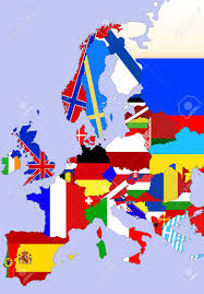 color illustration of the europe map with flags of countries stock