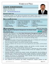 Logistics Responsibilities Resume Ligin Cv Procurement U0026 Logistics Professional