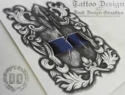 warrior shield crest tattoo design dark design graphics
