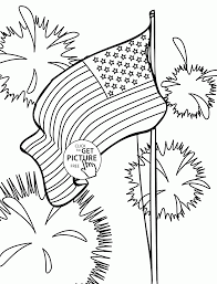 flag and fireworks fourth of july coloring page for kids