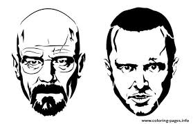 jesse and white from the breaking bad coloring pages printable