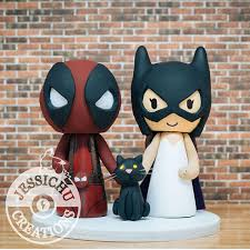 marvel cake toppers deadpool batgirl with cat custom wedding cake topper marvel