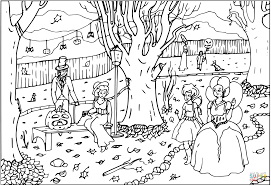 halloween ball party with fairies coloring page free printable