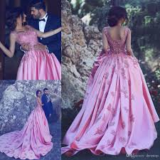 fashion pink appliqued sleeveless prom dresses long v neck a line