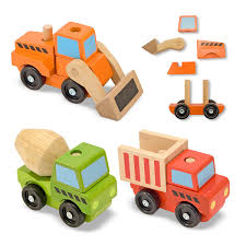 amazon com melissa u0026 doug stacking construction vehicles wooden