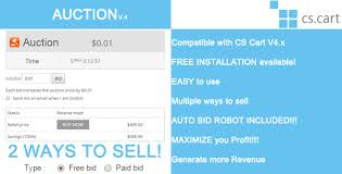 bid auction auction bidding with auto bid robot for cs cart by openthestore