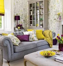 Grey And Yellow Living Room Gray Yellow Purple Living Room Not Sure About The Wall Paper But