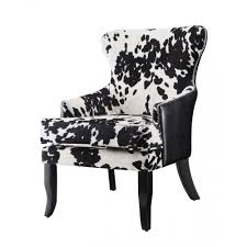 accent seating cowhide print leatherette accent chair