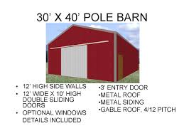 Gambrel Pole Barn by 3040pb1 30 X 40 X 12 Pole Barn Plans Blueprints Construction