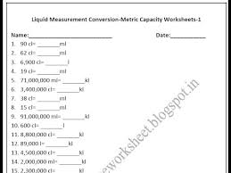 measuring units worksheet grade 4 metric capacity worksheets liquid measurement conversion