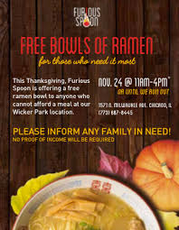 furious spoon to serve free thanksgiving ramen at wicker park