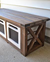 Small Bench With Shoe Storage by Good Idea For Back Yard Toy Storage Along The House Doubles As