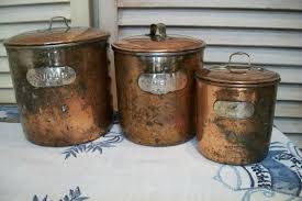 rustic kitchen canisters vintage copper canister set rustic copper canisters set of 3