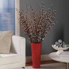 Large Vase With Twigs Large Vase With Twigs Lights Silk Flowers Home Decorating