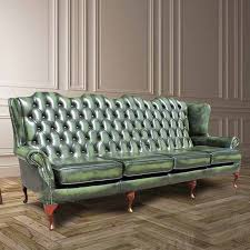Chesterfield Sofa Antique Green Chesterfield 4 Seater High Back Wing Sofa Designersofas4u