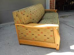 ranch oak sleeper sofa vintage western modern mid century