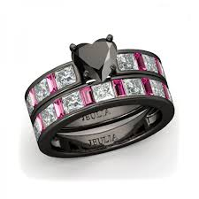 Jeulia Wedding Rings by Jeulia Heart Cut Created Black Diamond With Fuchsia Sapphire