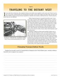 sixth grade reading comprehension worksheet traveling to the