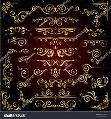vector set golden ornate page stock vector 529634815