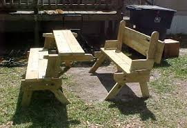 Folding Picnic Table Bench Plans Free by Bench Converts To Picnic Table Free Plans Your Photos