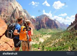 quotes zion national park hiking hikers looking view zion national stock photo 214825399