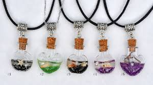 glass bottle necklace images Small glass bottle necklace glass vial necklace wish bottle png