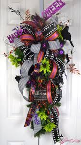 Pinterest Halloween Wreaths by Happy Halloween Teardrop Swag Wreath By Gaslight Floral Design