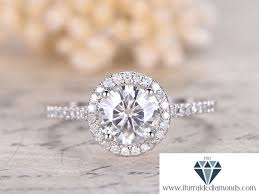 7mm diamond 7mm cut moissanite engagement ring diamond halo shanks