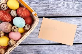 blank easter baskets blank card and easter basket stock photo image 89445488