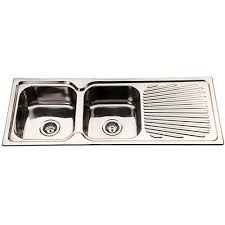 Polished Double Bowl Kitchen Sink And Drainer Mm Domain - Kitchen sink double bowl double drainer