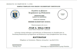 sample template grade 6 10 12 certificate deped lp u0027s
