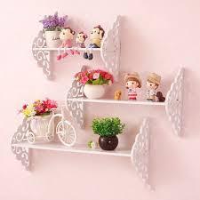 3x white wood filigree style wall hanging shelf shabby chic kids